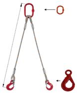 33948384 Zawiesie linowe dwucięgnowe miproSling LE 19,0/14,0 (długość liny: 1m, udźwig: 14-19 T, średnica liny: 36 mm, wymiary ogniwa: 275x150 mm)