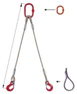 33948395 Zawiesie linowe dwucięgnowe miproSling F 29,0/21,0 (długość liny: 1m, udźwig: 21-29 T, średnica liny: 44 mm, wymiary ogniwa: 340x180 mm)