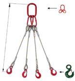 33954975 Zawiesie linowe czterocięgnowe miproSling C-WLL 9,0/6,5 (długość liny: 1m, udźwig: 9-6,5 T, średnica liny: 20 mm, wymiary ogniwa: 190x110 mm)