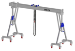 33960111 Wciągarka bramowa aluminiowa z możliwością przejazdu pod obciążeniem, z wózkiem pchanym i wciągnikiem łańcuchowym miproCrane DELTA 800H (udźwig: 2000 kg, szerokość: 7100 mm, wysokość: 3120/4270 mm)