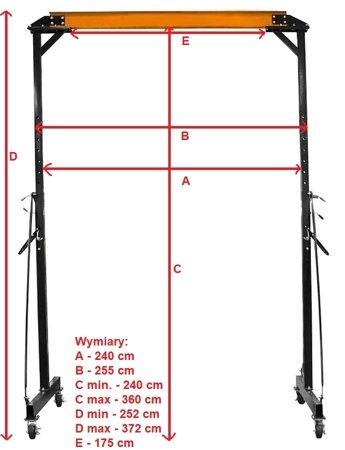 322+45671585 Suwnica, mobilny dźwig + wciągarka linowa elektryczna z wózkiem (suwn: 1000 kg, szer: 2300mm, wys podn: 2500-3600mm, wyciągark 600/1200kg, lina: 12m)