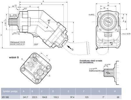 DOSTAWA GRATIS! 01539097 Pompa hydrauliczna tłoczkowa wielotłoczkowa Hydro Leduc (obj. robocza: 108,3cm³, maks prędkość obrotowa: 1900 min-1 /obr/min)