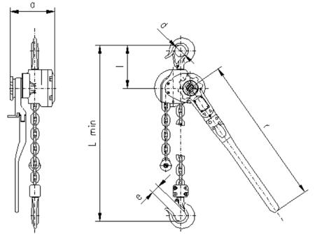 DOSTAWA GRATIS! 2209143 Wciągnik dźwigniowy, rukcug z łańcuchem ogniwowym RZC/5.0t (wysokość podnoszenia: 4,5m, udźwig: 5 T)