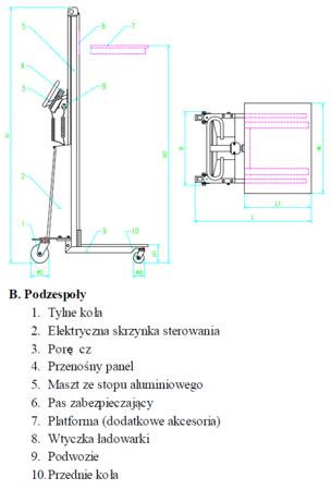 DOSTAWA GRATIS! 310412 Wózek podnośnikowy elektryczny (udźwig: 80 kg)