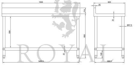 DOSTAWA GRATIS! 4564355 Stół roboczy ze stali nierdzewnej z kantem Royal Catering (wymiary: 60 x 150 x 96,4 cm)