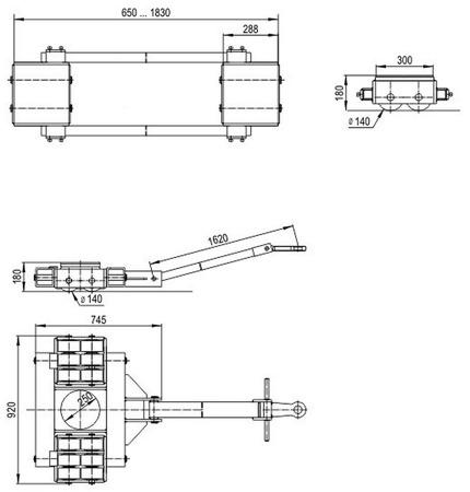 DOSTAWA GRATIS! 49972678 Zestaw podwozi transportowych (nośność: 60T)