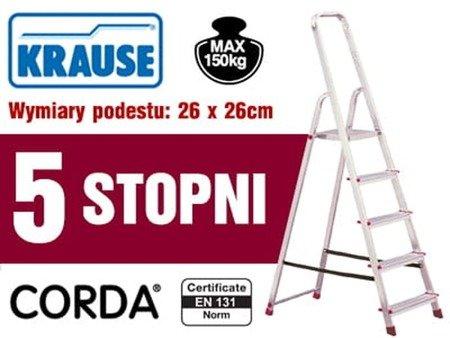 DOSTAWA GRATIS! 99674643 Aluminiowa drabina domowa Krause Corda 5 stopnie (wysokość robocza: 3,00m)