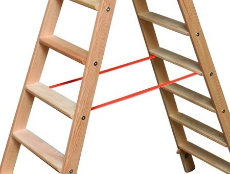 DOSTAWA GRATIS! 99674698 Drabina drewniana dwustronna Krause ze stopniami 2x7 (wysokość robocza: 3,10m)
