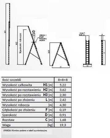 DOSTAWA GRATIS! 99674937 Drabina 3-elementowa anodowana Drabex 3x8 (wysokość robocza: 6,60m)