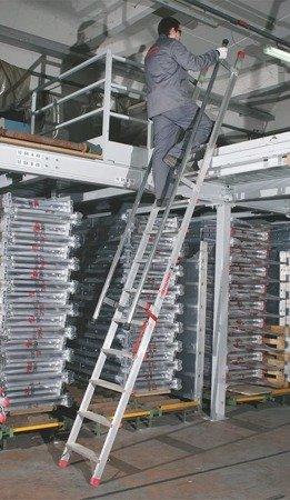 DOSTAWA GRATIS! 99675043 Drabina aluminiowa schody z poręczami FARAONE (wysokość robocza: 4,50m)