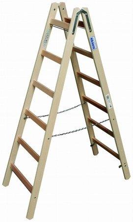 DOSTAWA GRATIS! 99675178 Drabina drewniana dwustronna KRAUSE ze szczeblami 2x6 (wysokość robocza: 3,00m)
