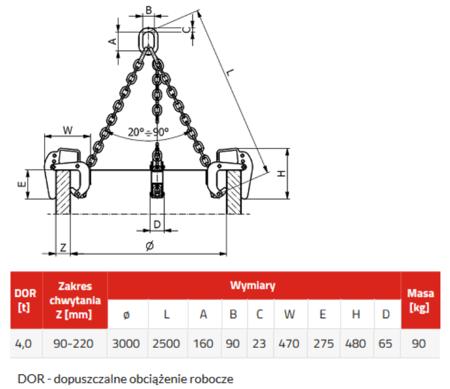 IMPROWEGLE Zawiesie łańcuchowe 3-cięgnowe zakończone uchwytami do podnoszenia kręgów betonowych GDA 4,0 (udźwig: 4 T, zakres chwytania: 90-220 mm) 3398557