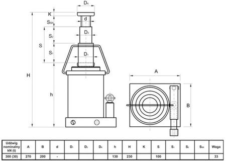 Podnośnik hydrauliczny teleskopowy - niski (wysokość podnoszenia min/max: 130/230mm, udźwig: 30T) 62725741