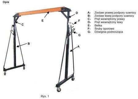 RETOR 322+55970065 Suwnica bramowa, mobilny dźwig portalowy + wyciągarka linowa elektryczna z wózkiem (udźwig wciągarki/suwnicy: 500/1000 kg)