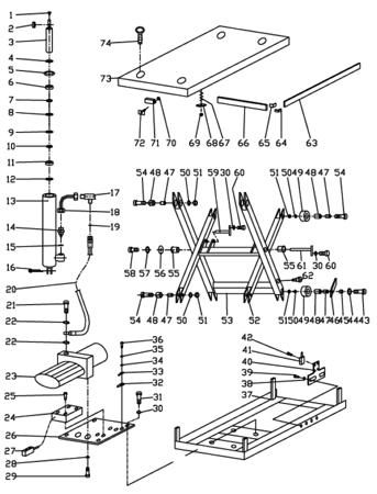 Stół podnośny elektryczny  (wymiary platformy: 1200x2000 mm, udźwig: 4000 kg, wysokość podnoszenia min/max: 240-1050 mm) 3109771